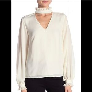 NWOT Nanette Lepore  ruffle long sleeve blouse XL
